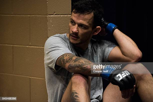 Alberto Mina waits in the locker room before UFC Fight Night at MGM Grand Garden Arena on July 7 2016 in Las Vegas Nevada