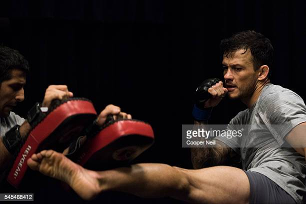 Alberto Mina warms up in the locker room before UFC Fight Night at MGM Grand Garden Arena on July 7 2016 in Las Vegas Nevada