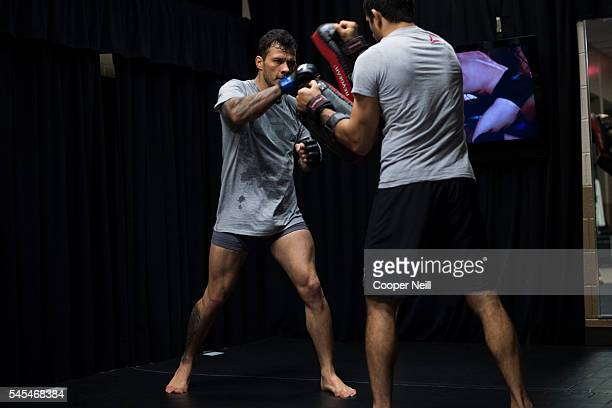 Alberto Mina warms up in the locker room during UFC Fight Night at MGM Grand Garden Arena on July 7 2016 in Las Vegas Nevada