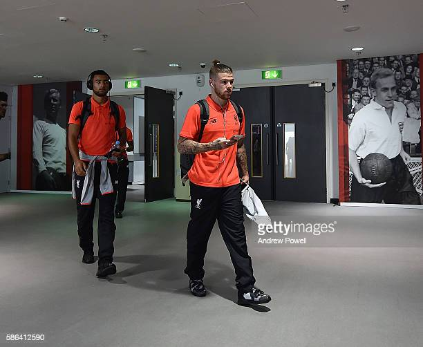 Alberto Moreno and Kevin Stewart of Liverpool arrives at the International Champions Cup match between Liverpool and Barcelona at Wembley Stadium on...