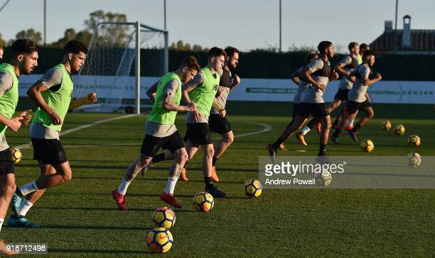 Alberto Moreno Ben Woodburn Danny Ings Dominic Solanke and Joe Gomez of Liverpool during a training session at the Marbella Football Center on...
