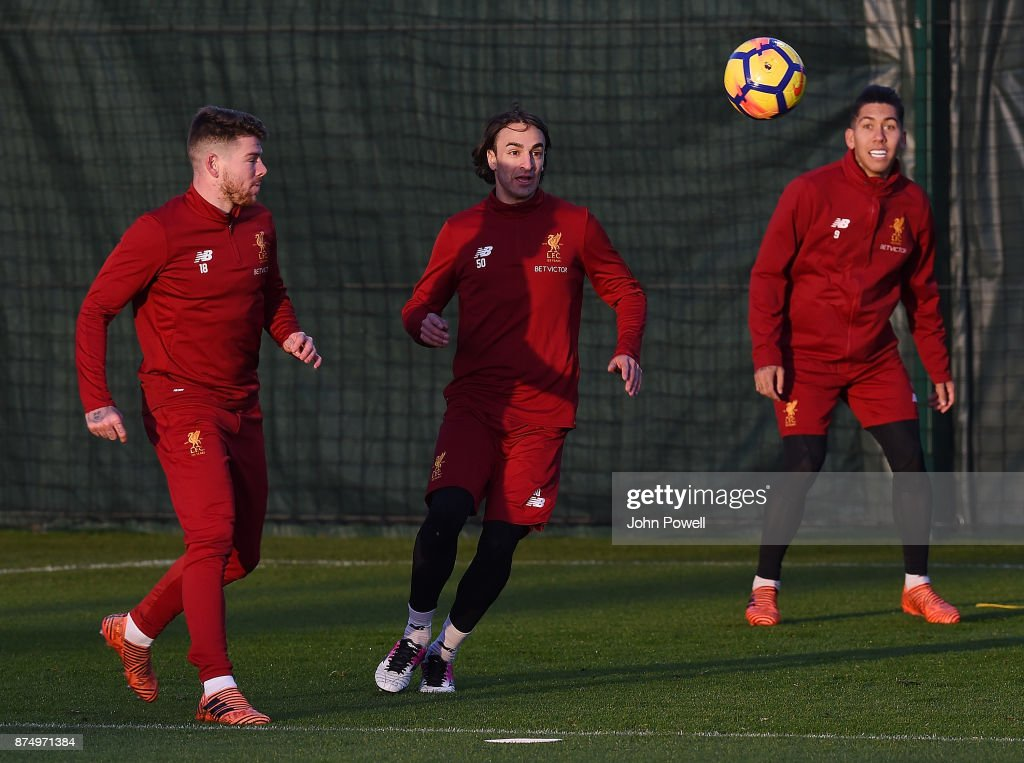 Alberto Moreno, Lazar Markovic and Roberto Frimino of Liverpool during a training session at Melwood Training Ground on November 16, 2017 in Liverpool, England.