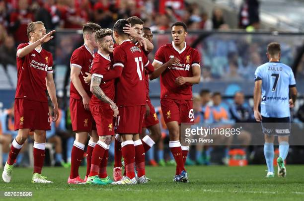 Alberto Moreno of Liverpool celebrates after scoring his teams second goal during the International Friendly match between Sydney FC and Liverpool FC...