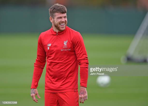 Alberto Moreno of Liverpool during a training session at Melwood on September 10 2018 in Liverpool England