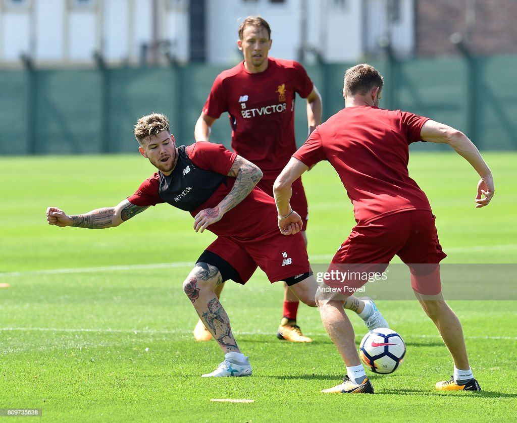 Alberto Moreno of Liverpool during a training session at Melwood Training Ground on July 6, 2017 in Liverpool, England.