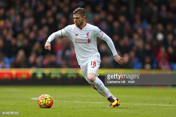 Alberto Moreno of Liverpool during the Barclays Premier League match between Crystal Palace and Liverpool at Selhurst Park on March 6 2016 in London...