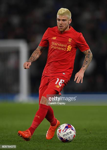 Alberto Moreno of Liverpool during the EFL Cup Third Round match between Derby County and Liverpool at iPro Stadium on September 20 2016 in Derby...