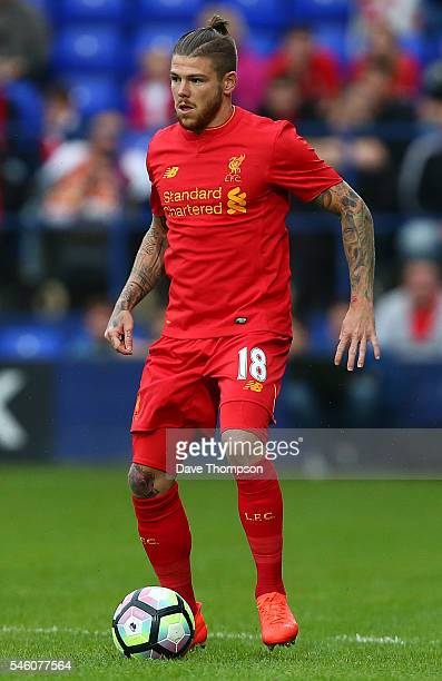 Alberto Moreno of Liverpool during the PreSeason Friendly match between Tranmere Rovers and Liverpool at Prenton Park on July 8 2016 in Birkenhead...