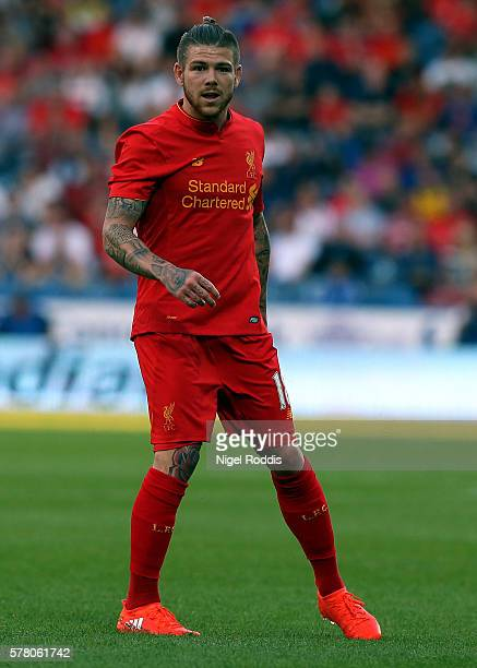 Alberto Moreno of Liverpool during the PreSeason Friendly match between Huddersfield Town and Liverpool at the Galpharm Stadium on July 20 2016 in...