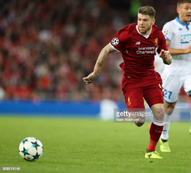 Alberto Moreno of Liverpool during the UEFA Champions League Qualifying PlayOffs round second leg match between Liverpool FC and 1899 Hoffenheim at...