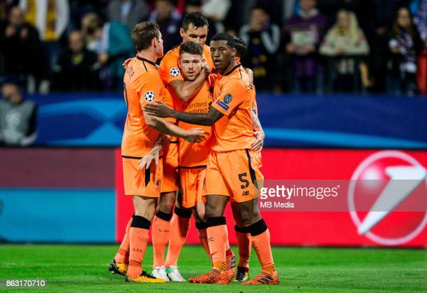 Alberto Moreno of Liverpool FC and other players of Liverpool celebrate after scoring fourth goal during UEFA Champions League 2017/18 group E match...