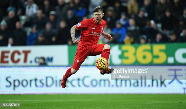 Alberto Moreno of Liverpool in action during the Barclays Premier League match between Newcastle United and Liverpool at St James' Park on December 6...