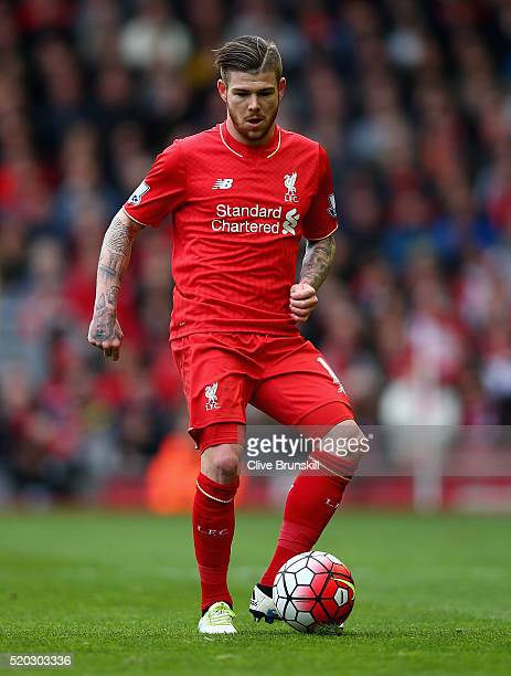 Alberto Moreno of Liverpool in action during the Barclays Premier League match between Liverpool and Stoke City at Anfield on April 10 2016 in...