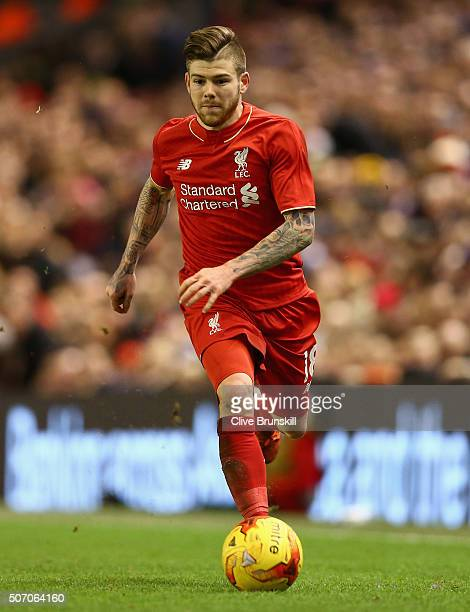 Alberto Moreno of Liverpool in action during the Capital One Cup Semi Final Second Leg match between Liverpool and Stoke City at Anfield on January...