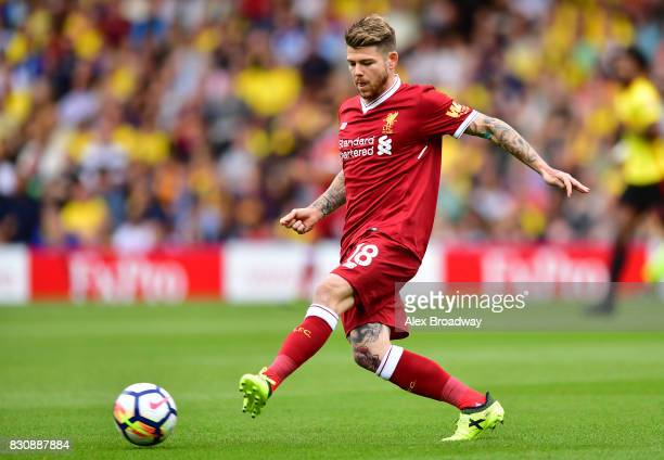 Alberto Moreno of Liverpool in action during the during the Premier League match between Watford and Liverpool at Vicarage Road on August 12 2017 in...