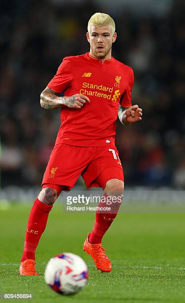 Alberto Moreno of Liverpool in action during the EFL Cup Third Round match between Derby County and Liverpool at iPro Stadium on September 20 2016 in...