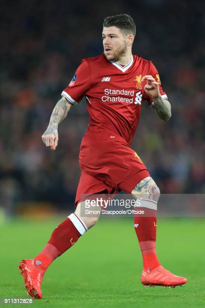 Alberto Moreno of Liverpool in action during The Emirates FA Cup Fourth Round match between Liverpool and West Bromwich Albion at Anfield on January...