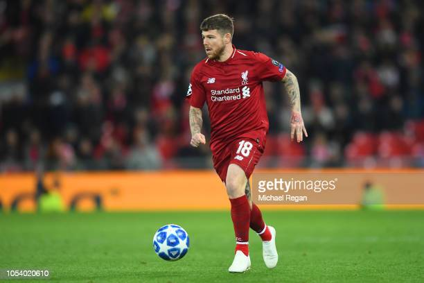 Alberto Moreno of Liverpool in action during the Group C match of the UEFA Champions League between Liverpool and FK Crvena Zvezda at Anfield on...