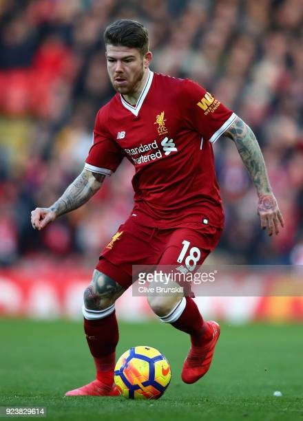 Alberto Moreno of Liverpool in action during the Premier League match between Liverpool and West Ham United at Anfield on February 24 2018 in...