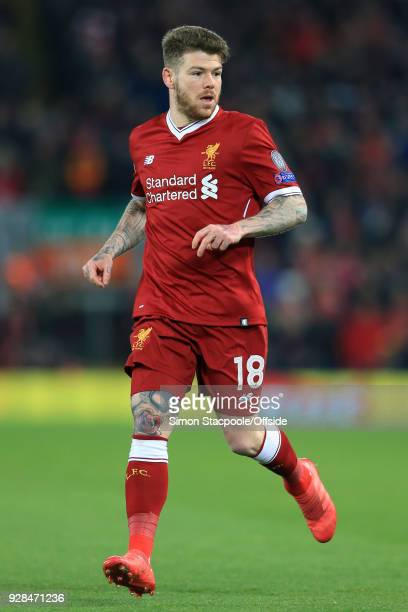 Alberto Moreno of Liverpool in action during the UEFA Champions League Round of 16 Second Leg match between Liverpool and FC Porto at Anfield on...