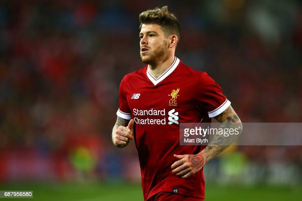 Alberto Moreno of Liverpool looks on during the International Friendly match between Sydney FC and Liverpool FC at ANZ Stadium on May 24 2017 in...