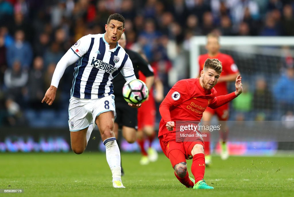 Alberto Moreno of Liverpool misses a chance to score a open goal during the Premier League match between West Bromwich Albion and Liverpool at The Hawthorns on April 16, 2017 in West Bromwich, England.