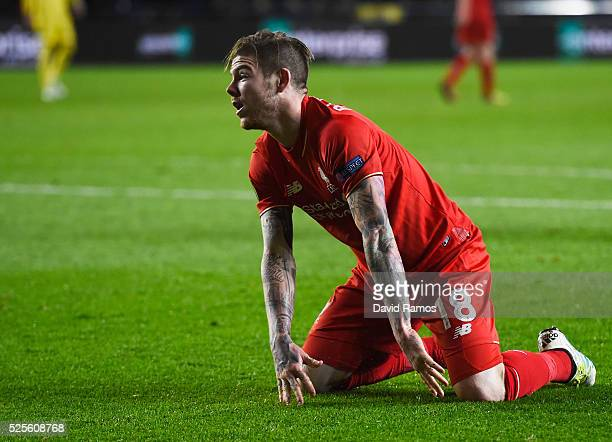 Alberto Moreno of Liverpool reacts after a missed chance during the UEFA Europa League semi final first leg match between Villarreal CF and Liverpool...