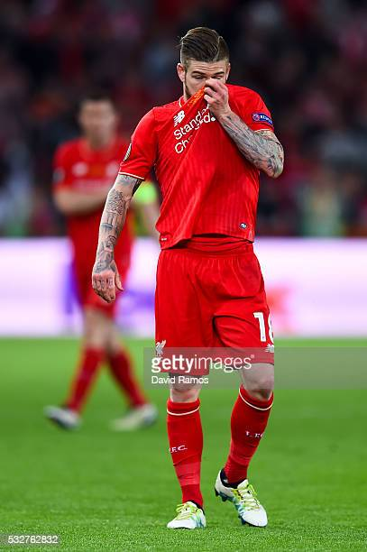 Alberto Moreno of Liverpool reacts during the UEFA Europa League Final match between Liverpool and Sevilla at St JakobPark on May 18 2016 in Basel...