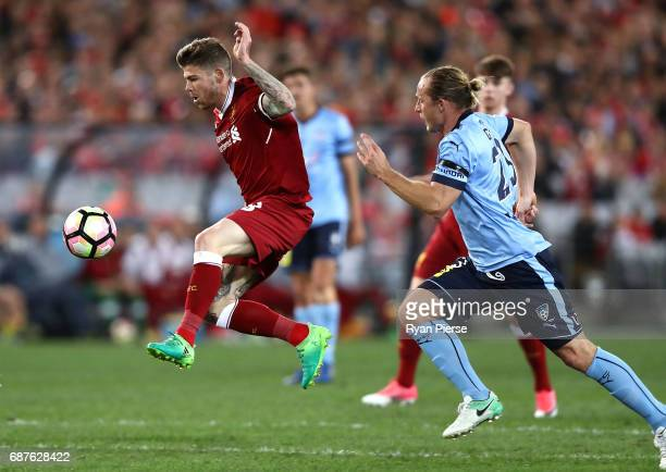 Alberto Moreno of Liverpool scores his teams second goal during the International Friendly match between Sydney FC and Liverpool FC at ANZ Stadium on...