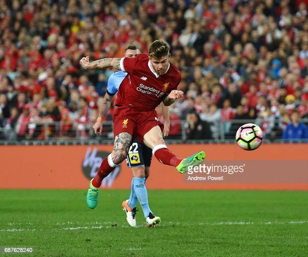 Alberto Moreno of Liverpool scores the second goal during the International Friendly match between Sydney FC and Liverpool FC at ANZ Stadium on May...