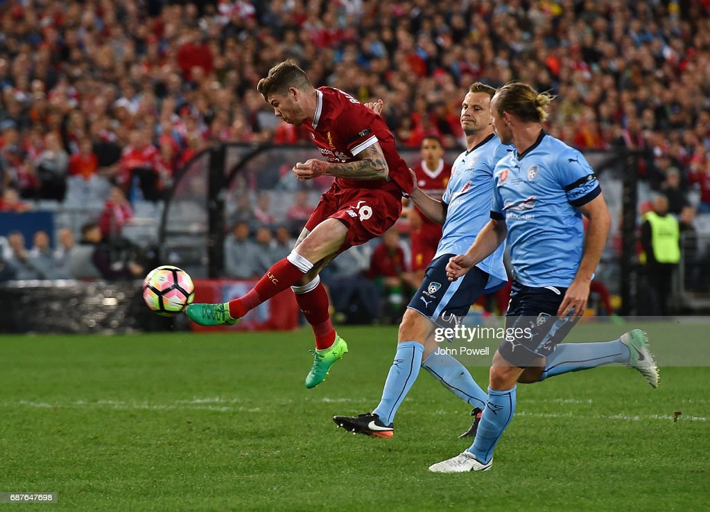 Alberto Moreno of Liverpool scores the second goal during the International Friendly match between Sydney FC and Liverpool FC at ANZ Stadium on May 24, 2017 in Sydney, Australia.