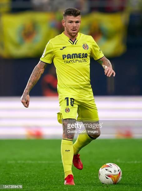 Alberto Moreno of Villarreal CF in action during the La Liga Santander match between Villarreal CF and CA Osasuna at Estadio de la Ceramica on...