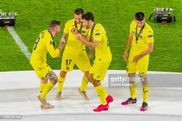 Alberto Moreno of Villarreal CF, Paco Alcacer of Villarreal CF, Alfonso Pedraza of Villarreal CF and Gerard Moreno of Villarreal CF celebrate after...