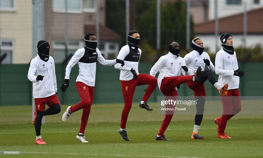 Alberto Moreno, Rafael Camacho, Trent Alexander-Arnold, Sadio Mane,nd Nathaniel Clyne and Ragnar Klavan of Liverpool during a training session at Melwood Training Ground on March 1, 2018 in Liverpool, England.