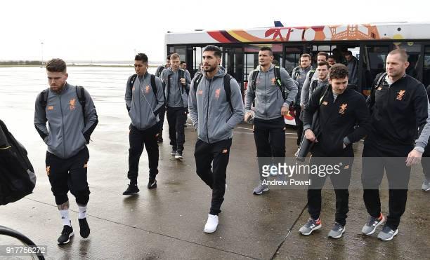 Alberto Moreno Roberto Fimrino Emre Can Dejan Lovren and Ragnar Klavan of Liverpool board the plane for their trip to Porto at Liverpool John Lennon...