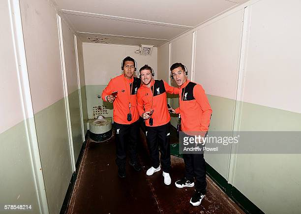 Alberto Moreno Roberto Firmino and Philippe Coutinho of Liverpool during a visit to Alcatraz on July 22 2016 in San Jose California