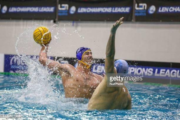 Alberto Munarriz of Barceloneta and Luka Bukic of Pro Recco during the Champions League water polo match between Pro Recco and Barceloneta on march...