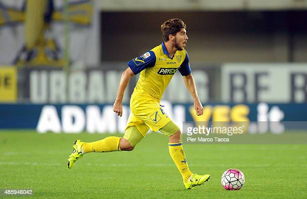 Alberto Paloschi of AC Chievo in action during the Serie A match between AC Chievo Verona and SS Lazio at Stadio Marc'Antonio Bentegodi on August 30,...