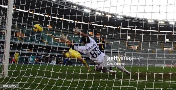 Alberto Paloschi of Chievo scores his team's third goal during the Tim Cup match between AC Chievo Verona and Modena FC at Stadio Marc'Antonio...