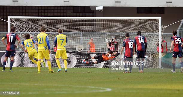 Alberto Paloschi of Chievo Verona scores his team's second goal from the penalty spot during the Serie A match between AC Chievo Verona and Genoa CFC...