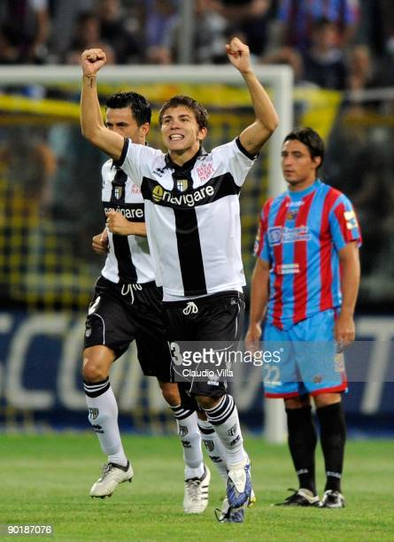 Alberto Paloschi of Parma celebrates after scoring during the Serie A match between Parma and Catania Calcio at Stadio Ennio Tardini on August 30...
