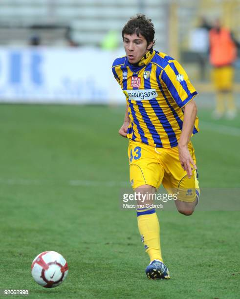 Alberto Paloschi of Parma FC in action during the Serie A match between Parma FC and AC Siena at Stadio Ennio Tardini on October 18, 2009 in Parma,...