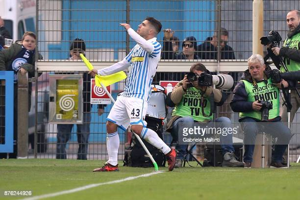Alberto Paloschi of Spal celebrates after scoring a goal during the Serie A match between Spal and ACF Fiorentina at Stadio Paolo Mazza on November...