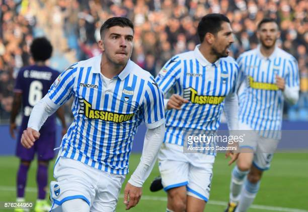 Alberto Paloschi of Spal celebrates after scoring the opening goal during the Serie A match between Spal and ACF Fiorentina at Stadio Paolo Mazza on...