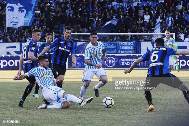 Alberto Paloschi of Spal in action during the serie A match between Spal and Atalanta BC at Stadio Paolo Mazza on April 7 2018 in Ferrara Italy