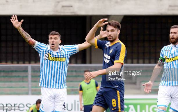 Alberto Paloschi of Spal reacts during the serie A match between Hellas Verona FC and Spal at Stadio Marc'Antonio Bentegodi on April 29 2018 in...