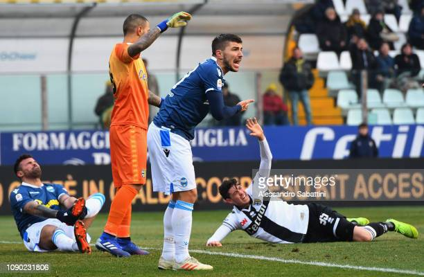 Alberto Paloschi of Spal reacts during the Serie A match between Parma Calcio and SPAL at Stadio Ennio Tardini on January 27, 2019 in Parma, Italy.