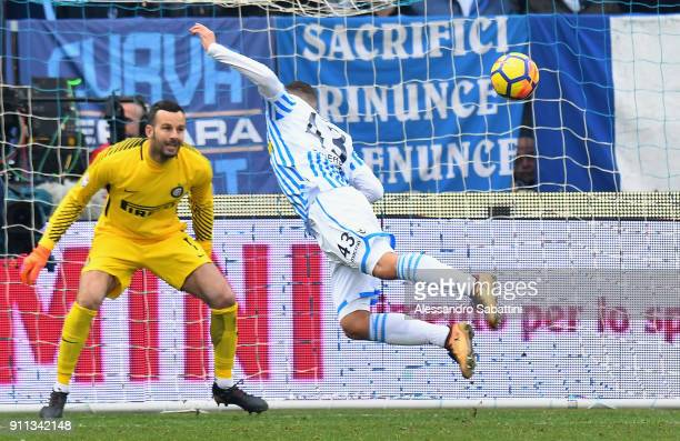 Alberto Paloschi of Spal scores the11 goal during the serie A match between Spal and FC Internazionale at Stadio Paolo Mazza on January 28 2018 in...