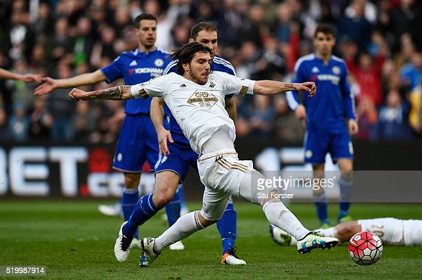 Alberto Paloschi of Swansea City stretches for the ball during the Barclays Premier League match between Swansea City and Chelsea at the Liberty...