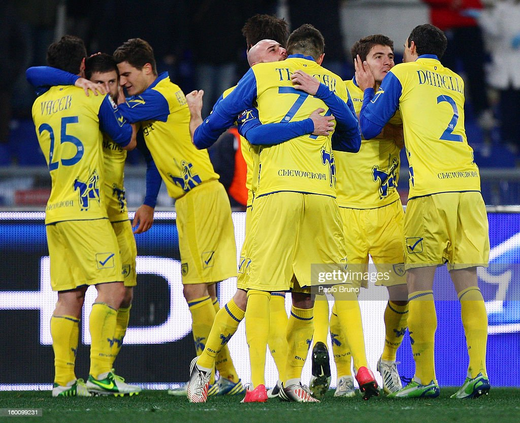 Alberto Paloschi (2nd-R) with his teammates of AC Chievo Verona celebrates after scoring the opening goal during the Serie A match between S.S. Lazio and AC Chievo Verona at Stadio Olimpico on January 26, 2013 in Rome, Italy.